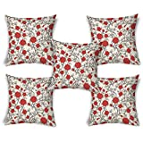 ShopMantra Red Flowers Pattern Printed Cushion Cover Set Of 5 16*16 Inch Multicolor Cushion Cover