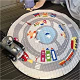 TheTickleToe Multifunction Cartoon Lovely City Cars Boys Fun Pattern Play Mats Rug Toy Storage Bag Crawling Rug Carpet For Baby Nursery Kids Room Nordic Style