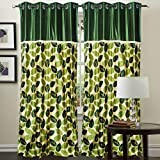 "Hargunz Eyelet Beautiful Leaf Polyester Long Door Curtains - 108""x48"", Pack of 1 Curtain, Green (KS027-1-3)"