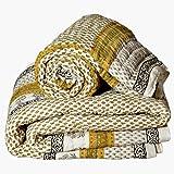 Little India Jaipuri Hand Block Print Cotton 2 Piece Quilt Set - White