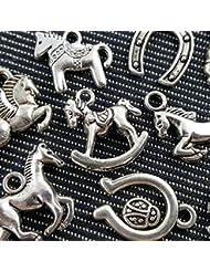10pcs Mixed Tibetan Silver Plated Animals Horse Deer Dog Charms Pendants Jewelry Making DIY Craft Charm Handmade... - B018Q6KU6I
