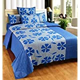 Super India Floral Blue Double Bed Sheet With Two Pillow Cover 3 Pcs