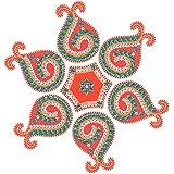 Jyoti Hastkala Plastic Rangoli (32 Cm X 32 Cm X 0.5 Cm, Red And Green)