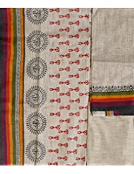 Exotic India Beige Salwar Kameez Fabric From Jharkhand With Printed Folk - Beige