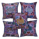 Rajrang Blue Cotton Patch Work Cushion Cover Set Of 5 Pcs #Ccs05572