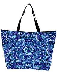 Snoogg Blue And Purple Designer Waterproof Bag Made Of High Strength Nylon