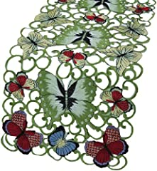 Xia Home Fashions Butterflies Embroidered Cutwork Spring Table Runner, 16-Inch by 34-Inch
