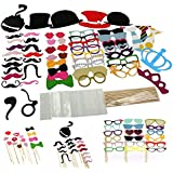 Honbay 60 Pcs Photo Props,Photo Shoots Kit,Diy Photo Booth Props Kit,Party Photo Props For Wedding Christmas Party Reunions Birthdays Photobooth Dress Up Accessories,Mustache,Caps,Glasses ,Bowties