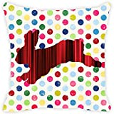 Leaf Designs Red And Black Stripes Rabbit Cushion Cover
