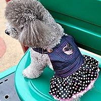 Imported Dog Puppy Denim Dungarees Pink Heart Sequin Polka Dot Ruffle Jumper Dress M
