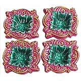 DollsofIndia Set Of Four Hand Painted Dark Pink With Green Designer Diya - Terracotta