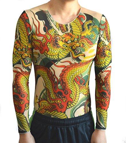 nuturary zero タトゥータイツロンT フィンガータトゥーシールセット 昇り龍 入れ墨シャツ 面白Tシャツ 和彫り イベント コスプレ