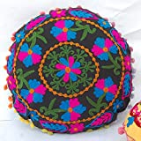 HANDICRAFTOFPINKCITY Black Color Hand Embroidered Suzani Cushion Cover Vintage Cotton Pillow Case 16''