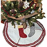 Christmas Tree Skirt With Stocking Tree Decorations Beige Color Chambray Tree Skirt Xmas Decorations For Home...