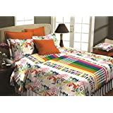 Maissen Petunia Cotton Floral Double Bed Sheet With 2 Pillow Covers - Lime Green