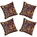 MeSleep Digitally Printed Abstract Micro Fabric 4 Piece Cushion Cover Set - Blue (CDEK-06-4)