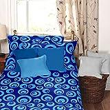 Dreamscape 100% Cotton 144 TC Blue Geometric Single Bedsheet With 1 Pillow Covers (7046-Sgl)