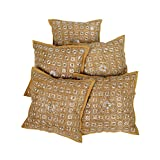 Rajrang Khaki Cotton Embroidered With Mirror Work Cushion Cover - B00UYIHQHS