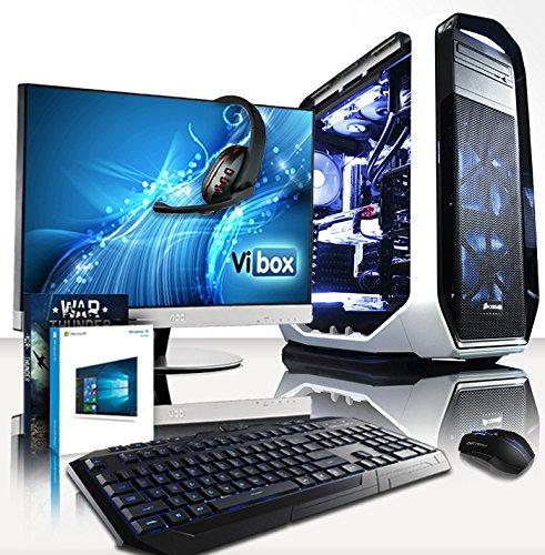 """VIBOX Divinity Gaming PC Computer Paket 6 - mit WarThunder Spiel Gutschein, 27"""" Monitor, Gamer Tastatur & Mouse, Windows 10 (3,5GHz Intel i7 Extreme Octa-Core CPU, Nvidia GTX 980 GPU, 64GB RAM, 240GB SSD, 3TB Festplatte, Corsair H100i GTX Wasserkühler)"""
