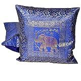 Ufc Mart Blue Jacquard Fine Silk Cushion Cover 2pc. Set, Color: Blue, #Ufc00471