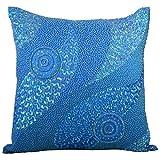 Svisti Raw Silk Single Piece Cushion Cover-Blue, 40.64 Cm X 40.64 Cm - B00N3NYO9E