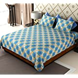 Home Candy Floral Premium Elegant Cotton Double Bedsheet With 2 Pillow Covers - Blue