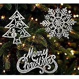 Christmas Ornaments - Set Of 16 Silver Glitter Ornaments - Silver Trees, Silver Snowflakes And Silver Merry Christmas...