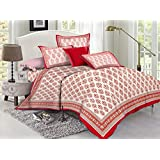 Lotus 110 TC Cotton Double Bed Sheet With 2 Pillow Covers - Queen, Red & Beige