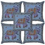 "Lalhaveli Decorative Elephant Embroidery Mirror Cotton Set 5 Pcs Cushion Cover - Blue, 16"" X 16"""