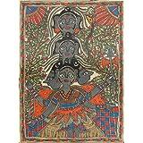 "Dolls Of India ""Panchmukhi Shiva"" Madhubani Folk Art On Paper - Unframed (27.94 X 38.10 Centimeters)"