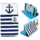 5s Case, Iphone 5s Case, Iphone 5s Cover, ARTMINE Anchor Stripes Durable Premium PU Leather Flip Folio Book Style...