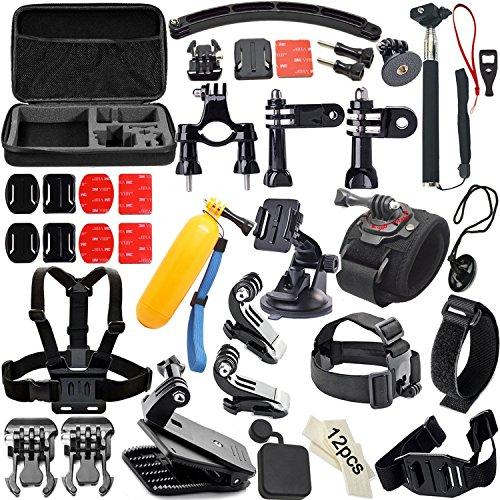 Soft Digits 50 en 1 Kit d'Accessoire pour Gopro 4 3+ 3 2 1, Kit d'accessoires Bundle pour SJ4000 SJ5000 SJ6000, Accessoires pour Appareils Photo d'act...