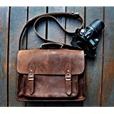 FeatherTouch Genuine Leather Camera Bag Messenger Bag Camera Case Leather Bag Dslr Padded Camera Bag 15X10X6 Inches...