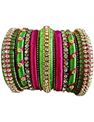 RUSHIKA CREATIONS PINK AND GREEN COLOR SILK THREAD MULTI BANGLES FOR WOMEN