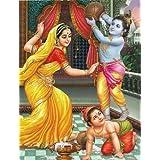 "Dolls Of India ""Yashoda, Krishna And Balaram"" Reprint On Paper - Unframed (27.94 X 22.86 Centimeters)"