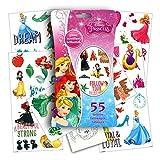 Disney Princess Glitter Temporary Tattoos: Cinderella, Snow White, Rapunzel, Aurora, Belle, Ariel, Jasmine, Tiana, Merida and Mulan- Includes 55 Glitter Tattoos & Specialty Coloring Princess Sticker