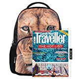Hynes Eagle Personalized 3D Animal Print Polyester Fashion Casual Backpacks (Lion)