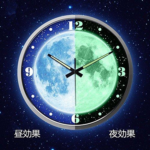 綿花世界 おしゃれな月球! 壁掛け時計 ユニーク 全面蓄光ウォールクロック(音がない)