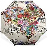 BAIHUISHOP 3 Folding Parasol Sun Protection Anti-UV Sun And Rain Umbrellas Floral Heart Art Pattern Windproof...