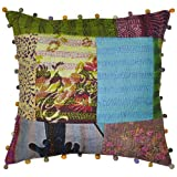 Embroidered Kantha Work Patchwork Silk Cushion Cover 16 Inches Single Pc - B00J63FY62