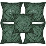 Lalhaveli Traditional Indian Decor Cotton Cushion Covers With Embroidery & Mirror Work 16 X 16 Inches Green