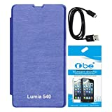 TBZ Flip Cover Case For Microsoft Lumia 540 With Tempered Glass Screen Guard And Data Cable -Blue