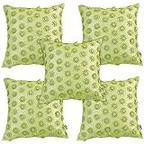 Idrape Polyester 5 Piece Cushion Cover Set- Green, 40 Cm X 40 Cm