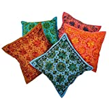 Ufc Mart Hand Embroidered Cotton Cushion Cover 5pc. Set, Color: Multi-Color, #Ufc00449