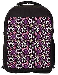 Snoogg Star Pattern Purple Backpack Rucksack School Travel Unisex Casual Canvas Bag Bookbag Satchel