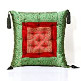 Jodhaa Cushion In Velvet And Brocade In Red/Green