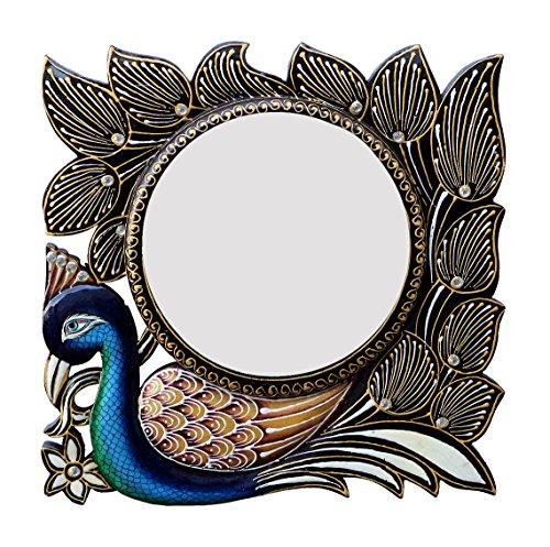 Divraya Wood Peacock Wall Mirror (30.48 Cm X 4 Cm X 30.48 Cm, DA148)