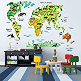 Kids Educational Animal World Map Wall Stickers - EveShine Peel & Stick Home Decor Wall Art Sticker Mural Decals...
