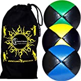 3x Pro Thud Bean Bag Juggling Balls - Deluxe (LEATHER) Professional Juggling Ball Set Of 3 + Fabric - B00LW3RZ0M