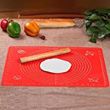 Clytius Red Large - Silicone Premium Quality Baking Mat For Pastry Rolling With Measurements (40×50cm) ,Chef Special...